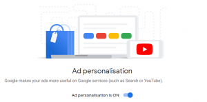 Ad personalisation in Google accounts