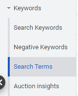 Google Ads Search Terms report
